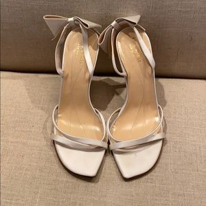 Kate Spade Satin Back Bow White Heels Sz 8 Wedding